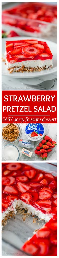 This strawberry pretzel salad is always a hit at parties. It's a strawberry pretzel dessert that is dangerously good! Sweet, salty, tart and irresistible! Köstliche Desserts, Delicious Desserts, Dessert Recipes, Yummy Food, Plated Desserts, Weight Watcher Desserts, Strawberry Pretzel Salad, Strawberry Recipes, Low Carb Dessert