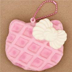 cute pale pink Hello Kitty waffle bow squishy charm cellphone charm kawaii 1