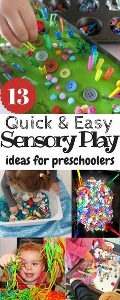 Quick and Easy Sensory Play ideas for preschoolers. Messy play ideas for kids. Fun and quick ways to enjoy messy play and sensory ideas for kids! Sensory Activities Toddlers, Sensory Bins, Infant Activities, Sensory Table, Nursery Activities, Autism Activities, Sensory Bottles, Indoor Activities, Preschool Learning