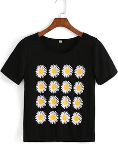 Black Short Sleeve Daisy Print T-Shirt