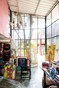 Love this art studio. Wall of windows.