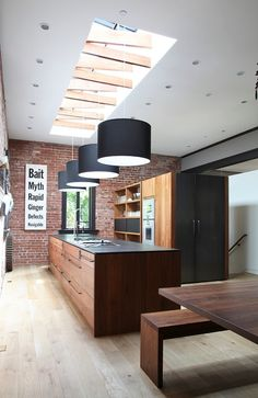 Unique skylight with trusses for the trendy kitchen