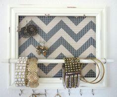 Jewelry Organizer - Jewelry Holder Chevron Frame 7 silver hooks & Jewelry Bar  https://www.etsy.com/shop/TheHopeStack?page=1