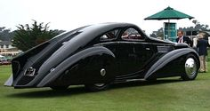 Rear & Side View of the 1929 Rolls-Royce Phantom 1 Jonckheere 2-door hand built coupe with the 7.6L straight-Six pushrod OHV engine