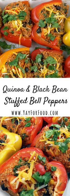 An easy, healthy vegetarian recipe that is quick to put together. Sweet bell peppers are filled with fibre and protein-rich quinoa and black beans.