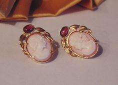 Vintage Pink Cameo Garnet 14k Gold Designer by BuccaneerTrading, $450.00