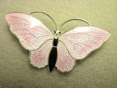 Large Beautiful Pink Vintage Norway Aksel Holmsen Sterling Enamel Butterfly Pin | eBay