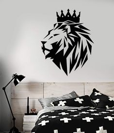 Viny Wall Decal Abstract Polyhedron African Lion King Crown Animal Cat Stickers (3064ig) Cat Stickers, Vinyl Wall Stickers, Wall Decals, Lion Wall Art, Lion Art, Coroa Tattoo, Tribal Lion Tattoo, Crown Silhouette, Rasta Art
