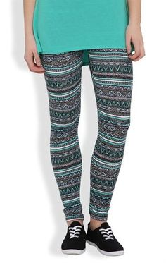 Deb Shops #Legging with #Mint and Coral #Tribal Print $11.17
