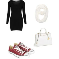 black bodycon dress, red converse (use Keds?), white scarf - sneaker outfit