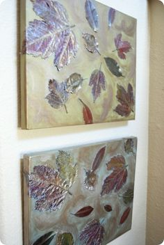 simple, beautiful - fall leaves highlighted with metallic paints on canvas