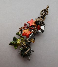Small Ivy Vine Autumn Wire Wrapped Key Pendant -- Red, Orange, Green Ivy Leaves, Crystals, Antique Brass Wire