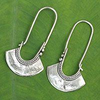 Sterling silver hoop earrings, 'Hollow Bell' from @NOVICA, They help #artisans succeed worldwide.