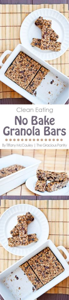 Clean Eating No Bake Oatmeal Granola Bars. Perfect for Back To School lunches!! ~ http://www.thegraciouspantry.com