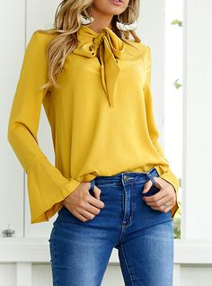 Cute Church Outfits With Jeans - Autumn Spring Chiffon Women Tie Collar Bowknot Plain Bell Sleeve Long Sleeve Blouses Cute Church Outfits, Style Feminin, Winter Shirts, Casual Tops For Women, Casual Summer Outfits, Women's Casual, Outfit Jeans, Women Ties, Jean Outfits