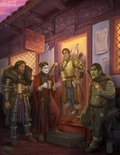 Party of 4 m Fighter Plate Shield m Wood Elf Bard Cloak m High Elf Paladin Plate Longbow Axe m Half Orc Rogue Thief outside The Giants Toe Tavern urban DnD: Roll for Initiative!