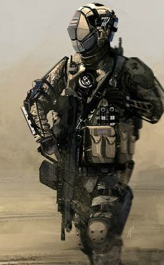 Dyna-Tec Industries American Soldier, Dom Lay on ArtStation at… Combat Armor, Military Armor, Military Gear, Future Soldier, Futuristic Armour, Futuristic Art, Character Concept, Character Art, Tactical Armor