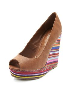 sarape canvas peerp-toe wedge at Charlotte Russe $35.50 love that the shoe is plain and the wedge is decorated