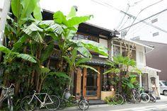 写真:【Café Bibliotic Hello! 】バナナの葉が生い茂り、遠くからでもよくわかる=瀧本加奈子 撮影