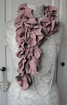 Dusky ROSE PETAL Ruffle Scarf by FAIRYTALE13 by FAIRYTALE13, $35.00