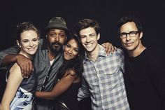 THE FLASH stars (from left) Danielle Panabaker, Jesse L. Martin, Candice Patton, Grant Gustin and Tom Cavanagh gather for a photo at the Warner Bros. Television Photo Studio at WBTV's Comic-Con cocktail media mixer at the Hard Rock Hotel's FLOAT Rooftop Bar on Friday, July 25. #WBSDCC