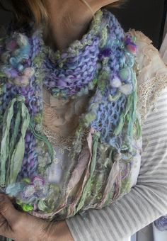 knit scarf airy soft handknit fantasy artyarn par beautifulplace