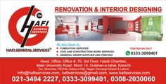 Great Renovation & Interior Designing by hafi in All Over khi (University Road Gulshan-e-Iqbal)