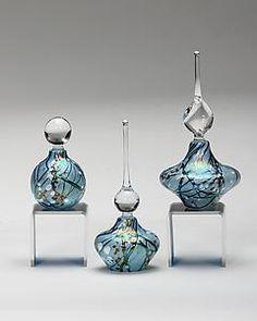 Cherry Blossom Perfume Bottles: Blue: Bryce Dimitruk: Art Glass Perfume Bottle | Artful Home