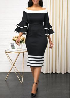 Stripe Print Back Zipper Layered Bell Sleeve Sheath Dress Women Clothes For Cheap, Collections, Styles Perfectly Fit You, Never Miss It! Latest African Fashion Dresses, Women's Fashion Dresses, Elegant Dresses, Sexy Dresses, Work Dresses, Club Party Dresses, Party Dresses For Women, Necklines For Dresses, Classy Dress