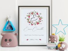'Strawberries' is an elegant hand drawn Birth Announcement design from our 'Day One' collection, suitable for all nurseries or baby rooms  'Day One' is all about the memories of one of the best days of our lives - the day your baby gave their first breath and, surely, a day you will never forget.  This artwork will be a beautiful and elegant finishing touch to your baby's nursery and it also makes the perfect gift for new parents. Baby Room Wall Decor, Nursery Room, Newborn Birth Announcements, Birth Weight, Gifts For New Parents, Nursery Signs, Baby Rooms, Baby Birth, Nurseries