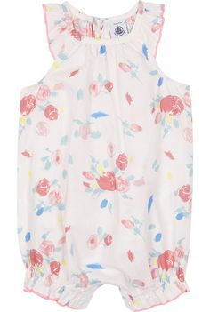 PETIT BATEAU - Frilled floral cotton shortall 3-24 months | Selfridges.com