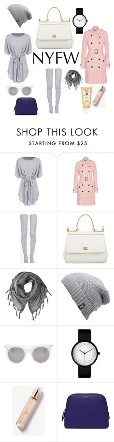 """""""NYFW"""" by krisalynj ❤ liked on Polyvore featuring Burberry, Balmain, Dolce&Gabbana, Love Quotes Scarves, The North Face, Alexander McQueen, Mulberry and Burt's Bees"""