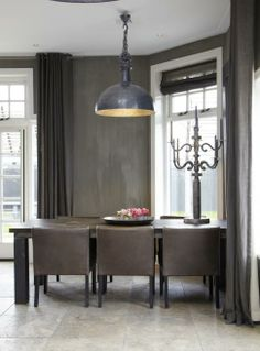industrial grey pendant light in a gorgeous grey shaded dining room