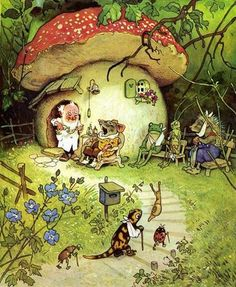 The Magic Faraway Tree: Fritz Baumgarten (German Illustrator; G Nome's Toadstool House Fantasy Kunst, Fantasy Art, Baumgarten, Mushroom Art, Mushroom House, Fairy Art, Children's Book Illustration, Woodland Illustration, Whimsical Art