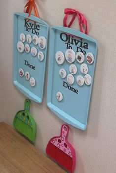 "ADOREABLE DIY CHORE CHART for KIDS: Basically each chore magnet contains a chore that needs to be done once a week by each child. Once done, it can be moved to the ""done"" section. Larger sized magnets are for big jobs like cleaning the playroom or sorting out games and small toys.   List of possible chores: -SHOES & COATS -BOOKS -DUST -LAUNDRY -MAKE BED -CLEAN ROOM -CLEAN PLAYROOM -CLEAN LIVING ROOM -GARBAGE -ORGANIZE TOYS/GAMES"
