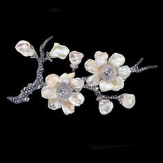 Cherry Blossom Brooch by Anabela Chan, London, Paris. High Jewelry, Pearl Jewelry, Jewelry Art, Jewelery, Vintage Jewelry, Jewelry Design, Cherry Blossom Petals, Baroque Pearls, Flower Brooch