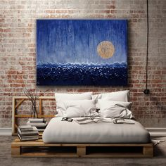 The moon, the rain, the sea! Wanna have them all? Check this moon canvas art large abstract print from a mixed media wall sculpture artwork!