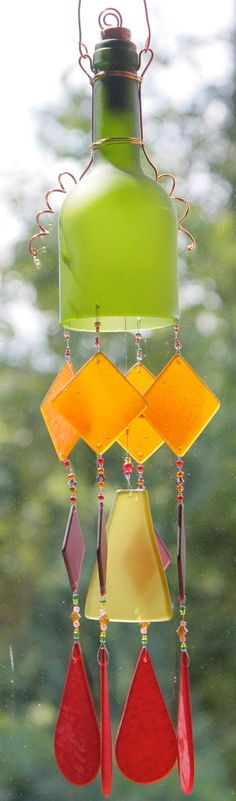 Recycled Wine Bottle Windchime