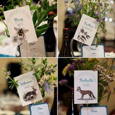 Woodland animal themed table names // Photography by Emma Stoner www.emmastonerweddings.com // The Natural Wedding Company