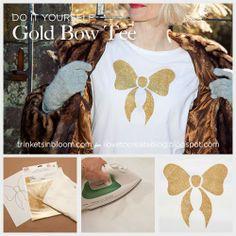 iLoveToCreate Blog: Holiday Gold Bow T-Shirt DIY