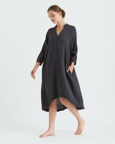 A relaxed, airy sleeve dress with raw frayed edges Deep V-neck line with 3 button closure Mandarin collar with raw frayed edge detail Side pockets Raglan Gauze Dress, Dress Up, Yohji Yamamoto, Mandarin Collar, Tunic Tops, Dresses With Sleeves, Boutique, My Style, How To Wear