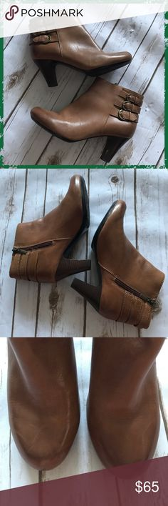 Clarks Tan Luggage Leather Buckle Ankle Boots Very comfortable and trendy ankle boots Zip up sides Some scuffs on heels (see photos) Front of boots show signs of wear (see photos, leather cleaner will work) **Please read first 2 comments** Clarks Shoes Ankle Boots & Booties