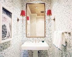 Bathroom ~ Splatter-paint wallpaper from Hinson & Company make this bathroom a work of art