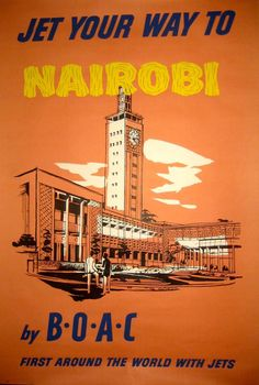 Vintage Airline Poster / Jet Your Way to Nairobi by BOAC