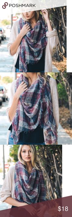 """!COMING SOON! Faded & Frayed Plaid Scarf Fun light weight scarf with frayed edges and faded red, white, and blue colors. Perfect piece to add to any outfit any time of the year. Large and full scarf, measuring 59"""" X 59"""". 100% polyester. Accessories Scarves & Wraps"""