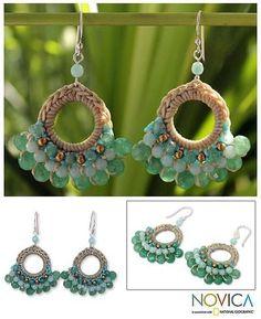 Fair Trade Brass and Quartz Crochet Earrings - Verdant Lanna | NOVICA: