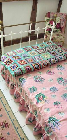 vintage textiles, vintage beds and crochet blankets.
