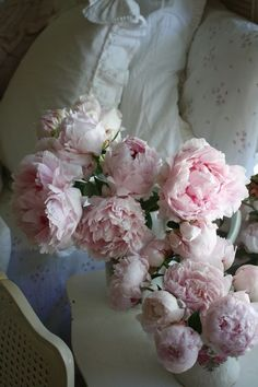 Light Pink Peonies in a Shabby Chic Bedroom ~