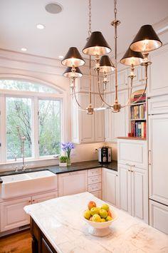 white kitchen  Tim Odom, Chandelier
