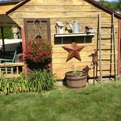 Garden shed | Country primitive outdoor ideas | shelf good idea, screen door or window?